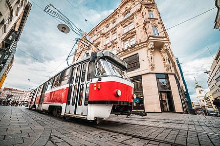 Typical Old Tram in Czech Republic