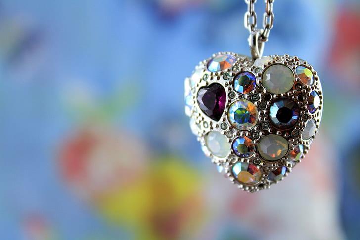 heart silver-colored multicolored gemstone pendant necklace
