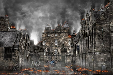 people beside burning castle