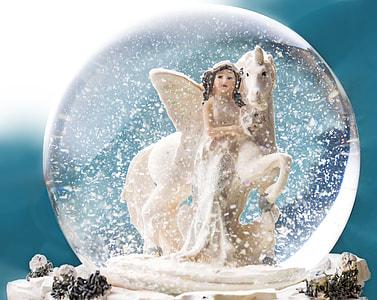 girl and white unicorn water globe