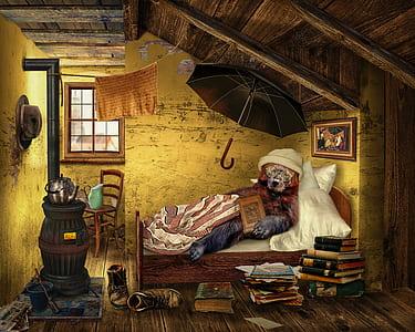 digital wallpaper of bear lying on bed