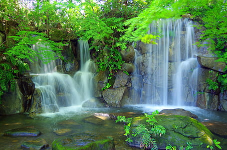 landscape photo of waterfalls