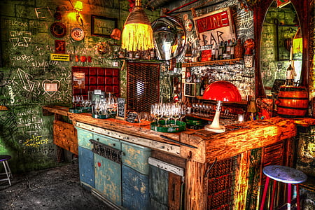 multicolored bar counter painting
