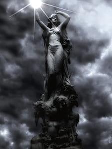 female statue under sun digital wallpaper
