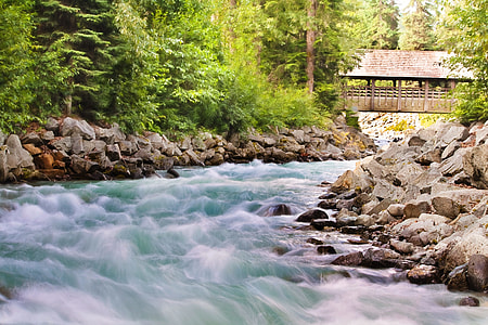 timelapse photography of river with stones