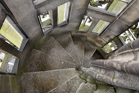 high angle photography of stair