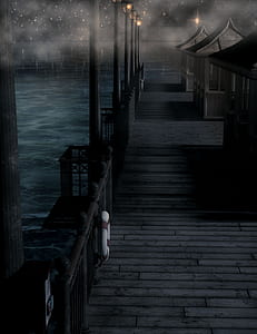 photo black wooden dock