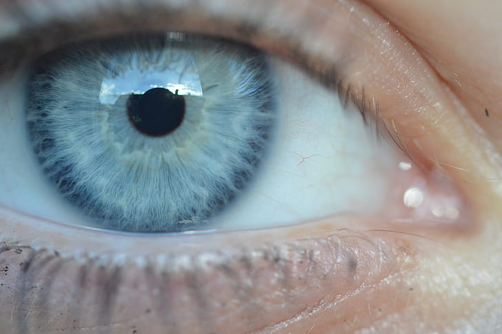 person with blue eye