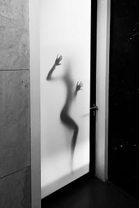 silhouette of person on smoked glass door