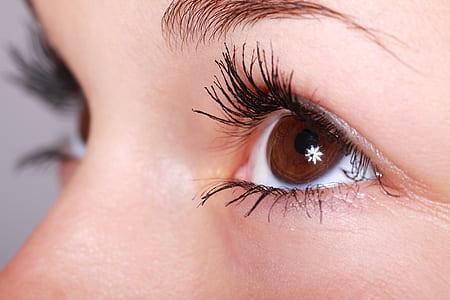 macro shot of human eyes
