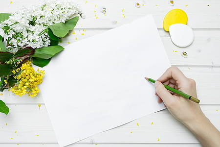 white printer paper with flowers
