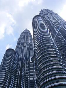low angle photography of Petronas Twin Tower