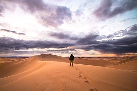 man walking on desert land