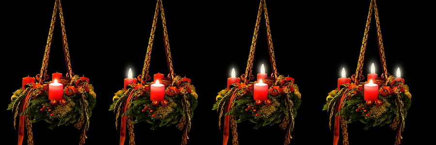 four green-and-red candle holders