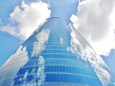 high rise building of clear glass window building