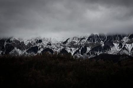 mountain range, mountains, landscape, fog, foggy