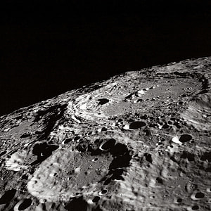 Moon outer crater top-view photography