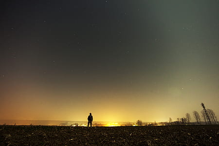 person standing under gray starry sky