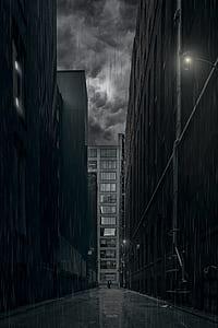 pathway between city buildings