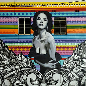 pop art mural painting of woman