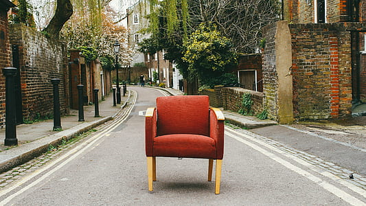 red armchair at road