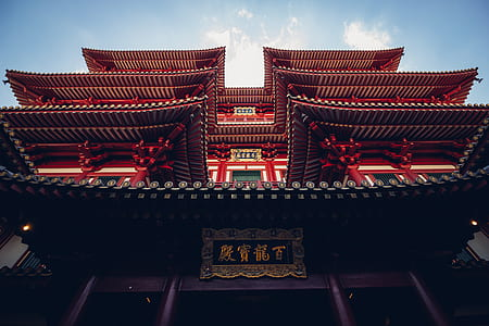 red and white wooden temple