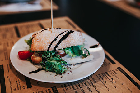 Tasty vegetable sandwich with drinks