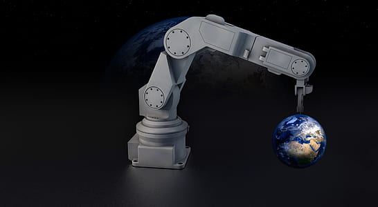 white robotic arm holding earth lamp