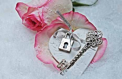grey steel skeleton key with two pink roses
