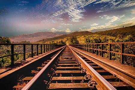 photo of empty rail road