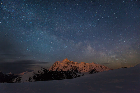 snowy mountain during nighttime