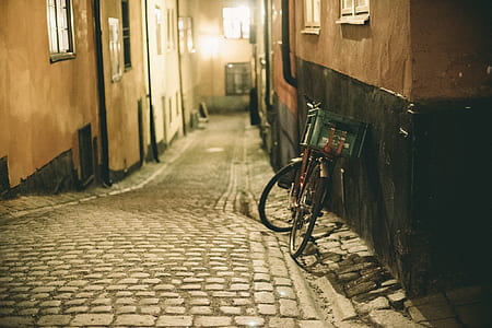 bike parked on alley way