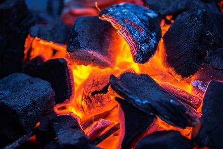 macro lens photography of charcoal burning