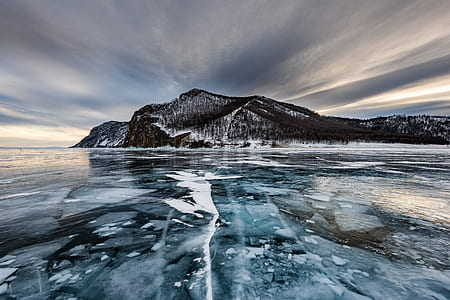 frozen body of water leading to island