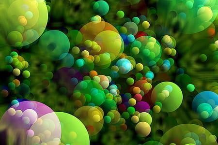 assorted-color bubbles wallpaper