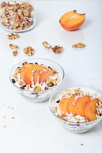 breakfast, peach, nectarine, fruit, muesli, walnuts