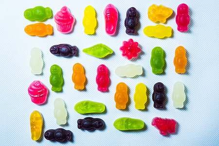 Overhead shot of brightly coloured candy sweets