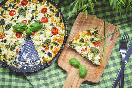 Baked Healthy Fitness Broccoli Pie with Basil