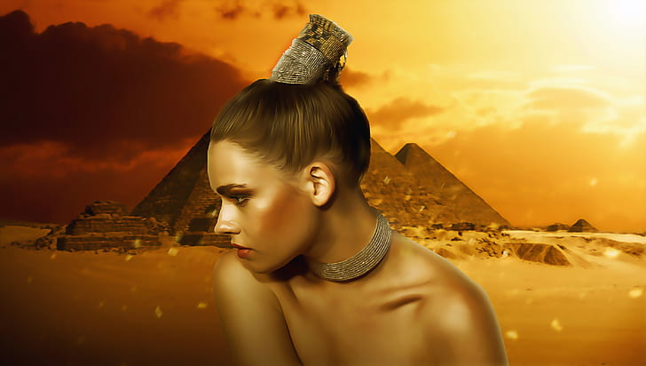 woman wearing necklace and hairband with pyramid background