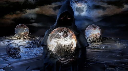 grim reaper holding glass ball graphic wallpaper