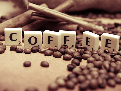 letters, coffee beans, coffee, time for coffee, fiction, the word