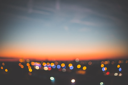 Evening Sunset Bokeh Cityscape