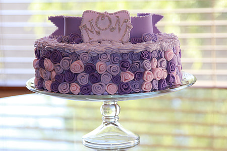 purple fondant came with flower accent on glass tray