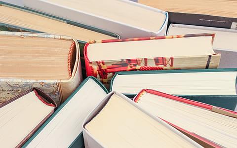 closeup photo of hardbound book lot