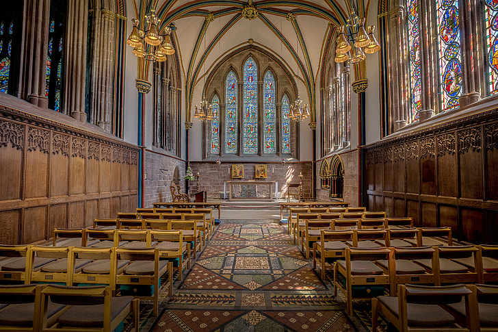 Royalty free photo chairs inside church with pendant ceiling lights chairs inside church with pendant ceiling lights aloadofball Images