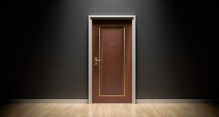 brown wooden flush door closed