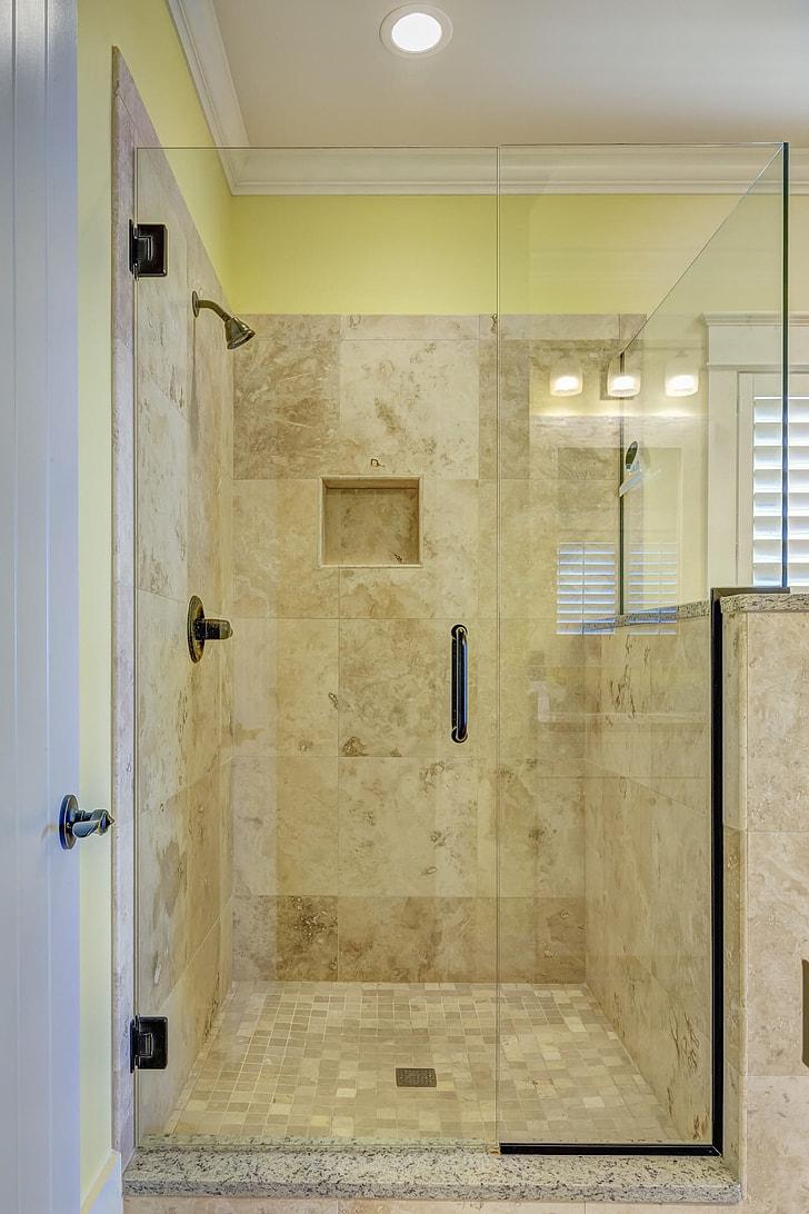 gray tiled bathroom enclosure
