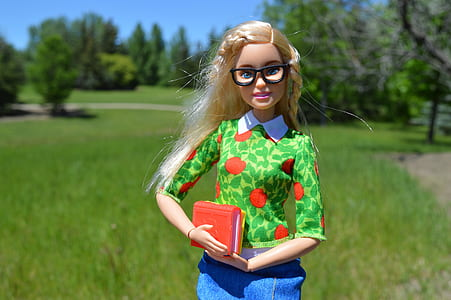 barbie doll action figure in front of green grass field