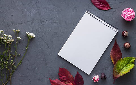 white notebook near white flowers