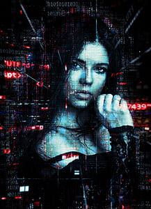 matrix photo of a woman wearing black long-sleeved top